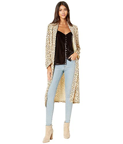 cupcakes and cashmere Women's Arianne Printed Soft Satin Duster Coat, Latte, Extra Small