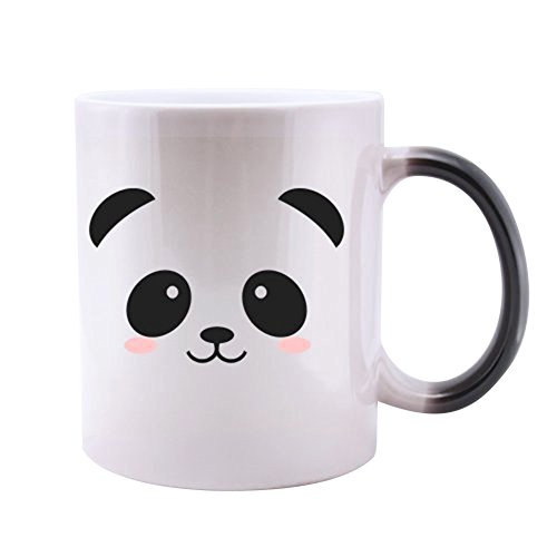 Funny Cute Panda Face Magic Color Changing Mug Unique Christmas or New Year Present for Men & Women, Him or Her - Best Office Cup & Birthday Gag Gift for Mom, Dad, Kids, Son, Daughter, Husband or Wife (Faces Office The With Mugs)