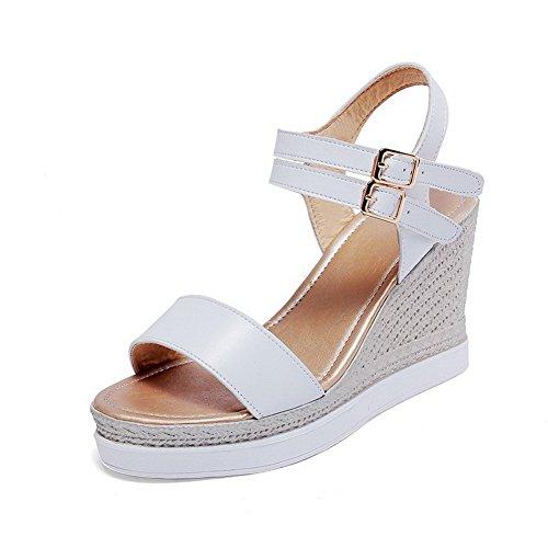 PU Femme Cuir Boucle Unie VogueZone009 Sandales Blanc Couleur qH1ES1w