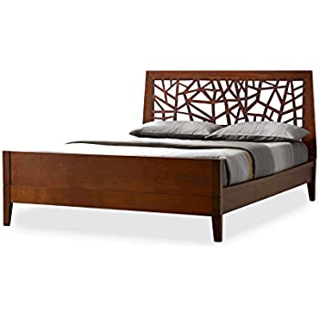 this item baxton studio jennifer tree branch inspired walnut finishing solid wood platform base bed frame queen
