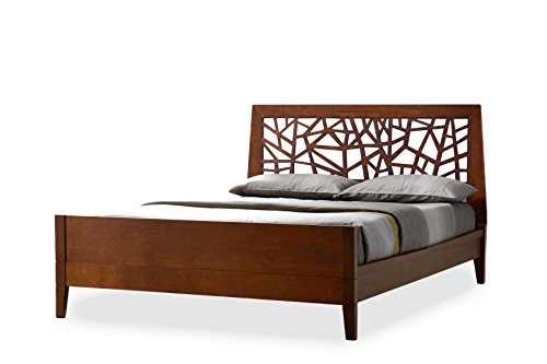 Baxton Studio Jennifer Tree Branch Inspired Walnut Finishing Solid Wood Platform Base Bed Frame, Queen (Solid Wood Headboards)
