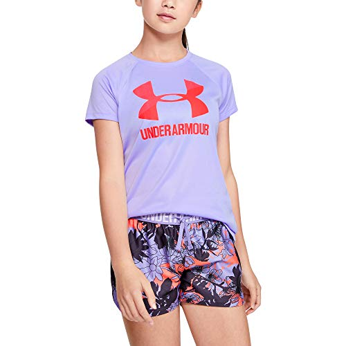Under Armour girls Big Logo Solid Short Sleeve T-Shirt, Purple (500)/Beta Red, Youth Small