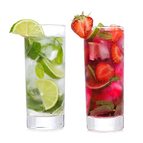 Highball Cocktails Glass Clear Tall Bar Ware with Heavy Base and Lead Free Crystal for Drinking Juice Beer 11 oz Set of 2 Gift for ()
