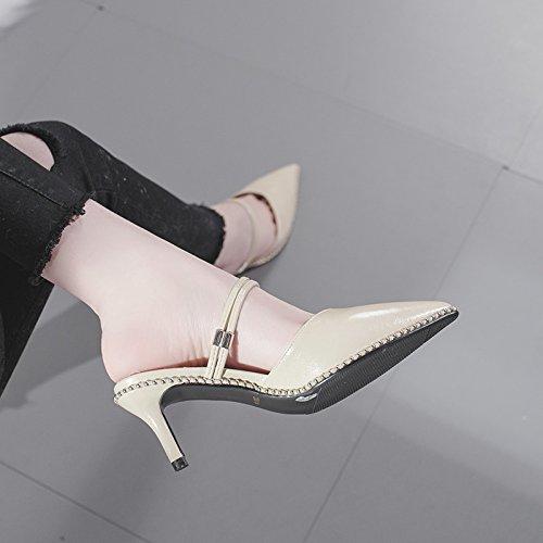Stilettos Escarpins Noir Talons Rivet 39 5 élégant UK Escarpins 6 Hauts à EU Beige Hauts Talons Toe Mariage Femmes Pointu 5cm zSdx1t1