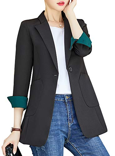 SUSIELADY Womens Notched Lapel Pocket Single Button Casual Work Office Blazer Jacket Slim Fit Blazer for Business Lady (T25-Black, X-Large)
