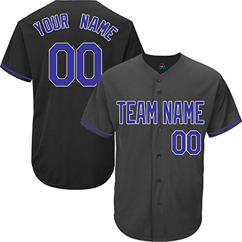 Black Custom Baseball Jersey for Men Full Button Mesh Embroidered Name & Numbers,Blue-White Size S