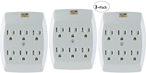 General Electric 54947 3 Pack 6-Outlet Grounded Tap, - Adapter Duplex White