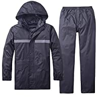 Liveinu Adult 2 Pieces Raincoat PVC Waterproof Lightweight Rainsuit with Hood Reflective Rain Jacket and Pants