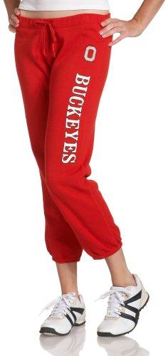 Ohio Drawstring Sweatpants - NCAA Ohio State Buckeyes Junior's Fleece Capri Pant, Small, Red