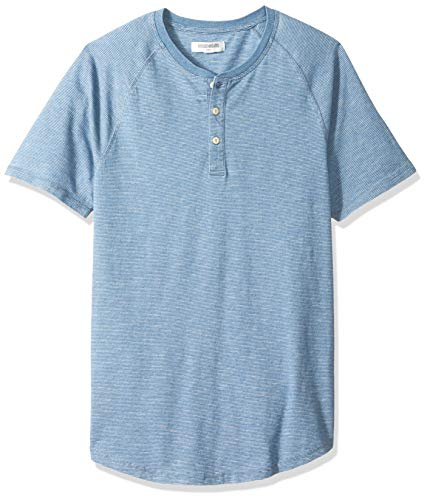 Goodthreads Men's Short-Sleeve Henley, Light Indigo Feeder Stripe, Large Tall ()