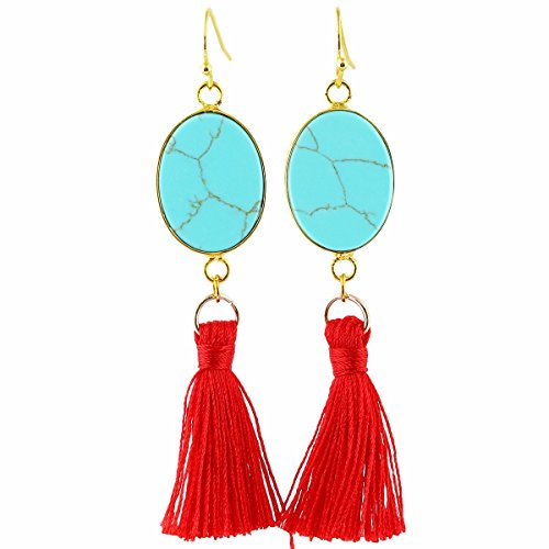 TUMBEELLUWA Tassel Dangle Earrings Rectangle Shape Healing Crystal Quartz Fringe Thread Drop Earring Handmade Jewelry for Women,Green Howlite Turquoise