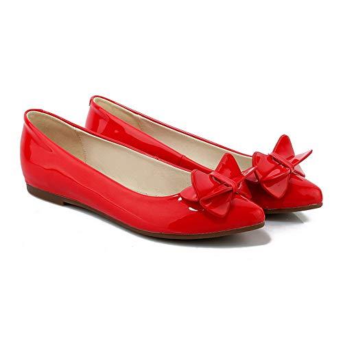 Pumps Urethane Shoes Red Womens Solid Casual BalaMasa APL10827 Bows XwA7Ixv