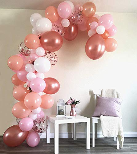 Balloon Garland & Arch Kit 100 Balloons, 5 Colors, Pink, Blush, Rose Gold, Rose Gold Confetti Balloons & White, Sm to Xlrge balloons, Glue Dots, 17 Decorating Strip For Wedding, Graduation, Baby Show