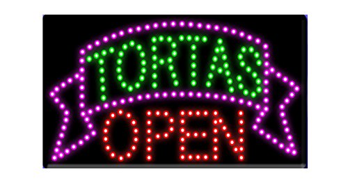 LED Tacos Tortas Burritos Open Light Sign Super Bright Electric Advertising Display Board for Message Business Shop Store Window Bedroom 19 x 10 inches (12) -