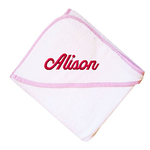 Fastasticdeal Custom Embroidered Personalized Cotton Soft White Girl Bath Baby Hooded Towel