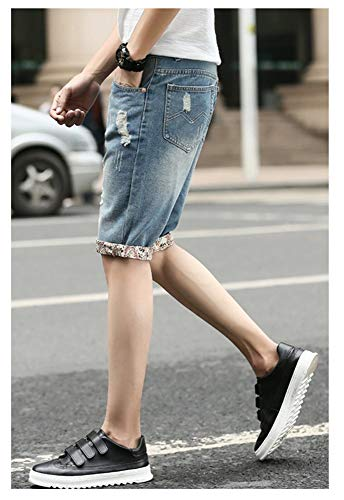Estate Moda Jeans Denim Vintage Pantaloni Pantaloncini Slim Strappati In Fit Floreale Abbigliamento Hole Blau Stampa Uomo Festivo Con dZnwX4Xq