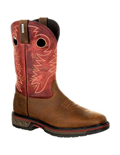 Georgia Men's Carbo-Tec Waterproof Pull On Boots, Brown, SPR Leather, Mesh, Rubber, 10 (Brown Spr Leather)