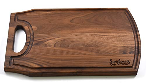 """(Sunflowees SB2301WOH Premium Hardwood Walnut Cutting/Serving Board with Open Handle - Juice Groove - Reversible - 10 ½""""W x 16""""L x ¾"""")"""
