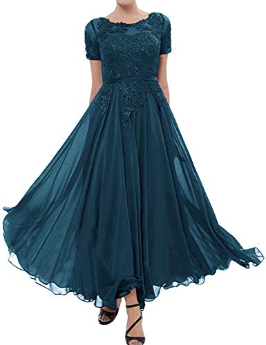 Tea Length Mother of The Bride Dress Short Sleeve Formal Party Gowns Teal 28W