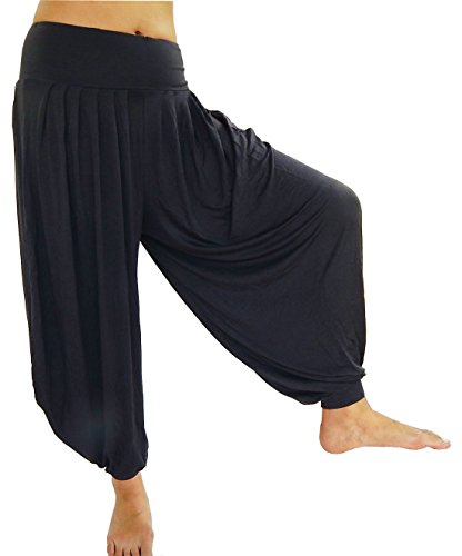 Lovely Creations Women's Drape Harem Pants Best for Dance, Yoga, Pilates, Belly Dance Fitness, Lounging - Super Soft Aladdin Pants Free Size (S-XL) (JS Gray) (Belly Dance Harem Pants For Women)