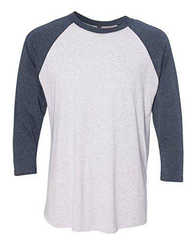 Next Level Unisex 3/4-Sleeve Raglan T-Shirt, Indigo/HTHR Wht, Large