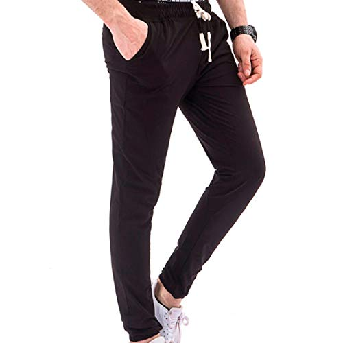 Ximandi Mens Pants Casual Mens Pants Expandable Waist Mens Trousers Stretch Waist Mens Shorts Athletic Black