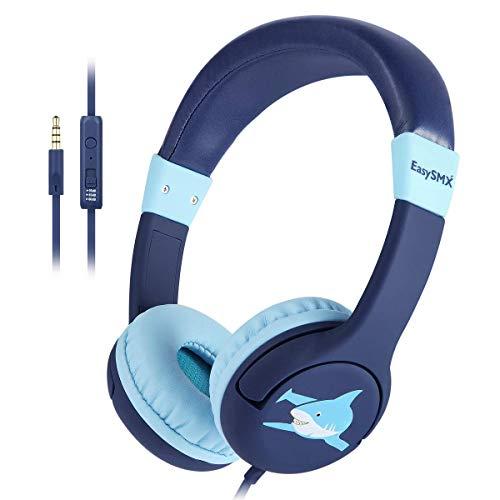 kinderhoofdtelefoon, EasySMX oren bedrade lichtgewicht hoofdtelefoon met microfoon, in-line bediening, 80-95dB…