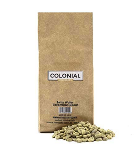 Colonial Coffee Unroasted Green Raw Swiss Water Colombian Decaf Coffee Beans, 1 LB Bag (Decaf Green Coffee Beans)