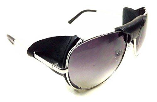 Retro Aviator Sunglasses w/ Faux Leather Bridge & Side Shields (Silver Frame - Black Leather, - Shields Sunglass Side