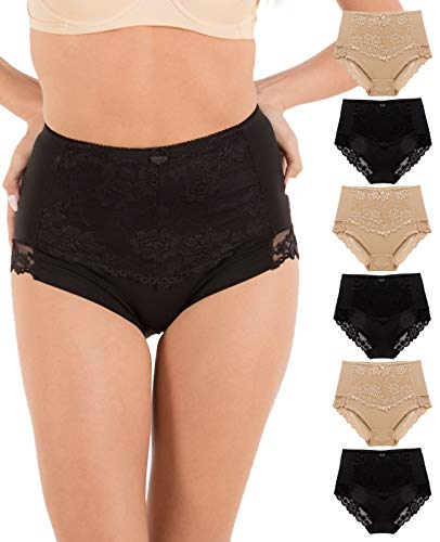 (Barbra's 6 Pack Ruched-Rear Uplift Full Brief Lace Trim Panties (4XL))