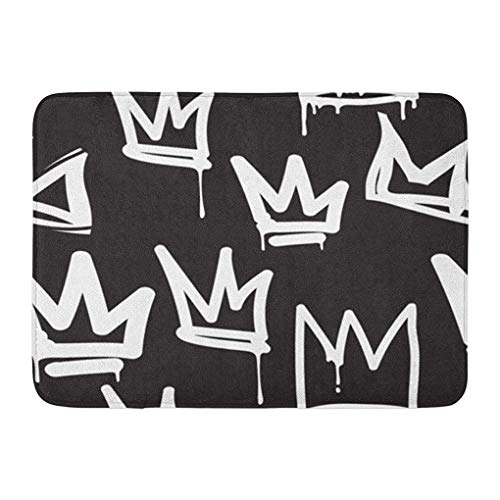 YGUII Doormats Bath Rugs Outdoor/Indoor Door Mat Crown Tags Black and White Graffiti in Hip Hop Street Skateboard Pattern Urban Bathroom Decor Rug Bath Mat 16X23.6in (40x60cm)