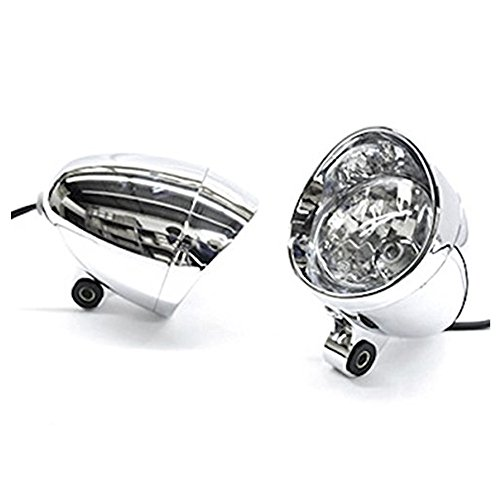 (DLLL Universal Motorcycle Custom Chrome Passing Fog Headlight Head Light For Yamaha V-Max Vmax V Max VMX)
