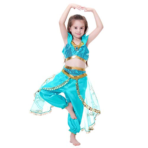 Girls Princess Jasmine Costume Halloween Party Fancy Outfit