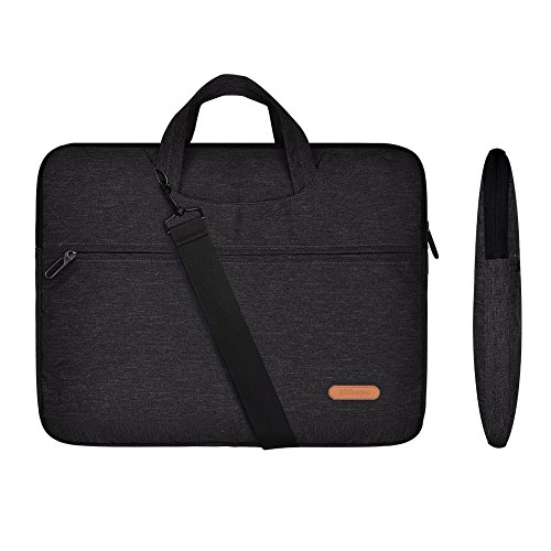 Laptop Briefcase Shoulder Bag 17 inch(Not Fade) Multi-Functional Messenger Portable Carrying Case Sleeve Cover with Strap for Ultrabook Macbook Pro Air Chromebook Notebook Tablet(Black) by Hihopo (Lenovo Laptop Case 17 Inch)