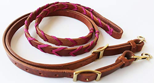 (CHALLENGER Amish USA Harness Leather Latigo Roping Horse Barrel Contest Reins Tack 66RT10PK)