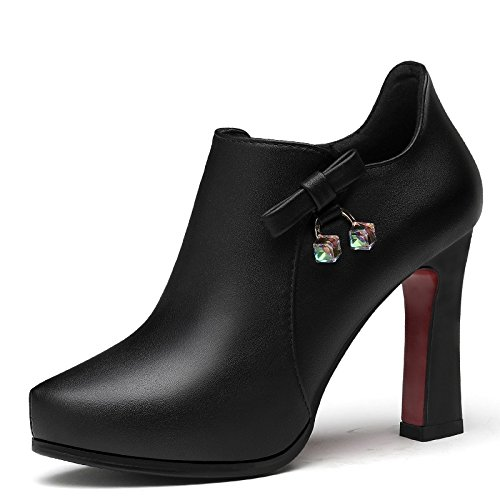 Spring High Thick Shoes New Shoes Jqdyl With Shoes Waterproof Female heels Single Heel Black High Platform w8qq7ft