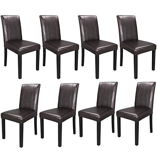ZENY Leather Dining Chairs with Solid Wood Legs Chair Urban Style, Set of 8 (Dining Room Chairs 8)