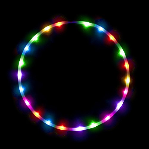 (LED Hula Hoop Fully Rechargeable and Collapsable - 28 Color Strobing and Changing LED Lights - Multiple Sizes Available - Light Up Hoola Hoops for Adults and Kids - Technicolor Prism)