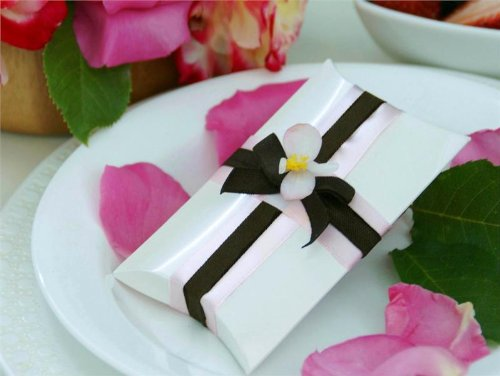 BalsaCircle 100 White Stylish Pillow Wedding Favors Boxes Wedding Party Birthday Candy Gifts Decorations Supplies Wholesale by BalsaCircle