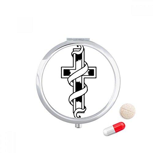 Religion Belief Christianity Church Black Travel Pocket Pill case Medicine Drug Storage Box Dispenser Mirror Gift by DIYthinker