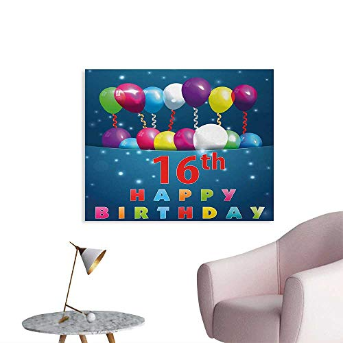 Tudouhoho 16th Birthday Art Poster Sweet Sixteen Theme Teenage Design Party Balloons Kitsch Celebration Image Painting Post Multicolor W32 xL24 ()