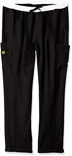 (WonderWink Size Four-Stretch Plus Straight Leg Women's Scrub Pant, Tall, Black, 2X-Large)
