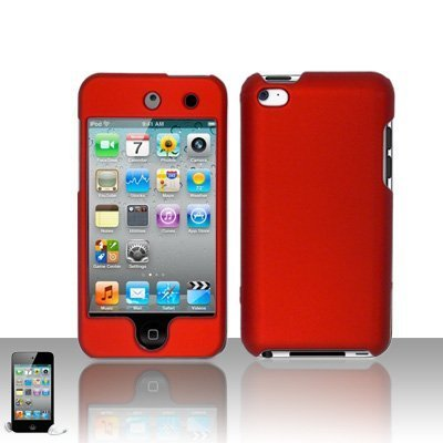 Red Rubberized Hard Snap-on Skin Case Cover Accessory for Ipod Touch 4th Generation 4g 4 8gb 32gb 64gb New (Hard Case Ipod 4th Generation)