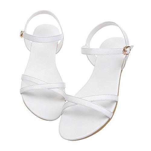 AalarDom Mujer Hebilla Puntera Abierta Mini Tacón Pu Sólido Sandalias de vestir Blanco-CHUN