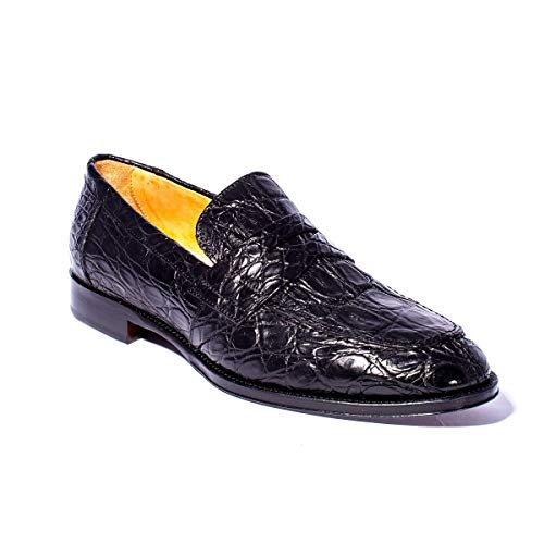 - Zelli Roma Crocodile Loafer Shoes (8.5M, Black Matte)