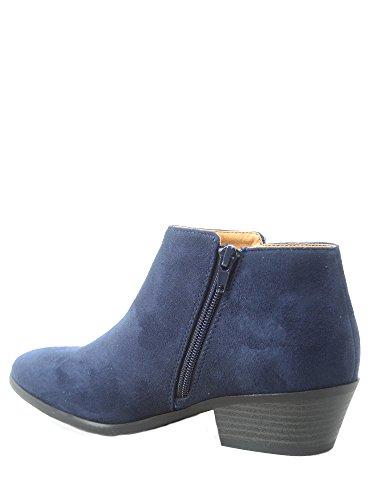 Almond Shoes Mug Toe Booties Soda Women's 01 Ankle Chunky Low Navy Zipper Side Fashion Heel CAwOAzxqn