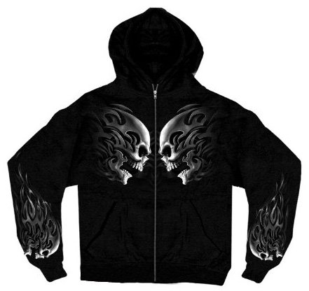 Hot Leathers Head Butt Skulls Zipper Hoodie (Black, XXX-Large)