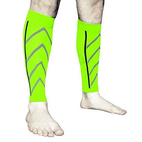 1 Pair Calf Compression Sleeve -Support Leg Sleeve Sports Socks Calf Guard for Outdoor Exercise Running Cycling (Green)
