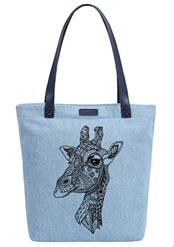 So'each Women's Animal Giraffe Denim Dye Handbag Tote Shoulder Shopper Bag Azul
