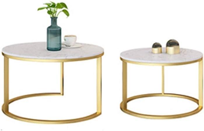 Table XIA Nordic Redonda de mármol Mesa de Centro Creativo Moderno de la Sala de Estar Oficina de Hierro Forjado Sofá Mesa Lateral (Juego) (Color : A): Amazon.es: Hogar